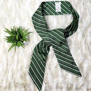 MAXMARA Green Striped 100% Silk Bias Cut Belt, M